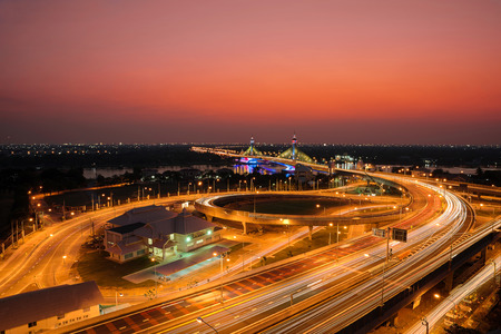 tollway: Highway and Suspension bridge in Bangkok ,Thailand