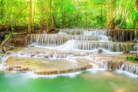 water spring: Level six of Erawan Waterfall in Kanchanaburi Province, Thailand Stock Photo