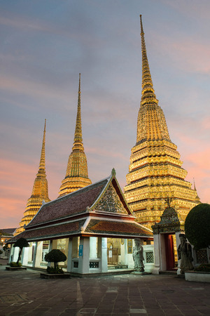 wat pho: Wat Pho Temple at night of Bangkok, Thailand Stock Photo