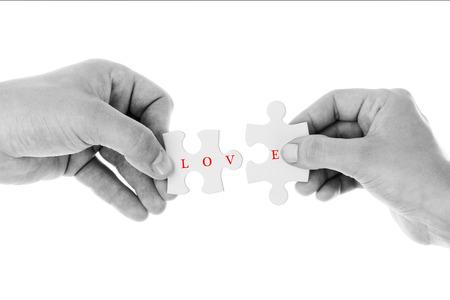 Love concept - Jigsaw of love in Black & White color Standard-Bild