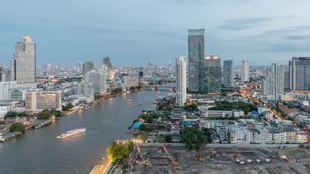 rive: Skyscrapers in City of Bangkok downtown near Chao phraya rive
