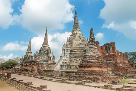 heritage site: Old Temple Architecture , Wat Phra si sanphet at Ayutthaya, Thailand, World Heritage Site Editorial