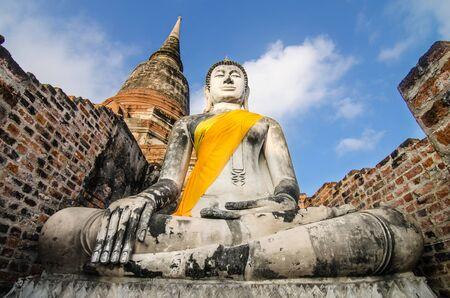 chaimongkol: Ancient Buddha in Wat Yai Chaimongkol, Ayutthaya, Thailand Stock Photo