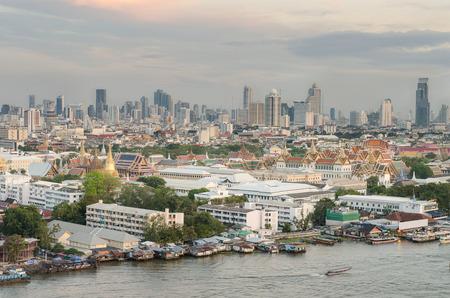 grand palace: Grand Palace along the Chaophraya river at dusk, Bangkok, Thailand Editorial