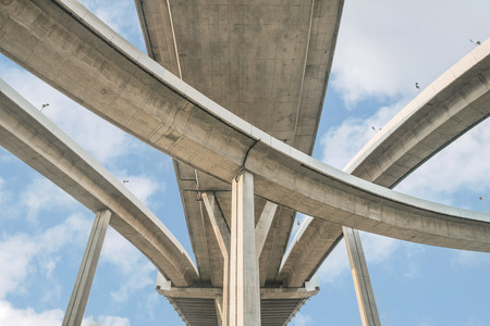 highway: Elevated expressway. The curve of suspension bridge, Thailand. Stock Photo