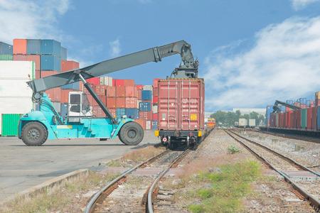 on train: Carretilla caja contenedora manejo de carga para el tren de carga