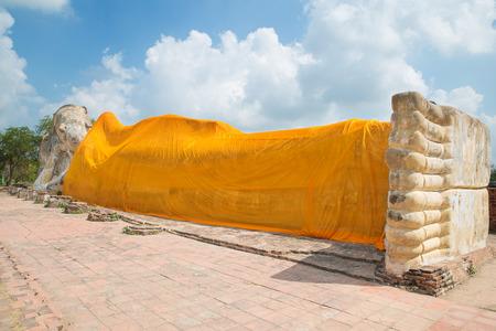 reclining: Reclining Buddha of Wat Lokayasutha in Ayutthaya, Thailand. Stock Photo