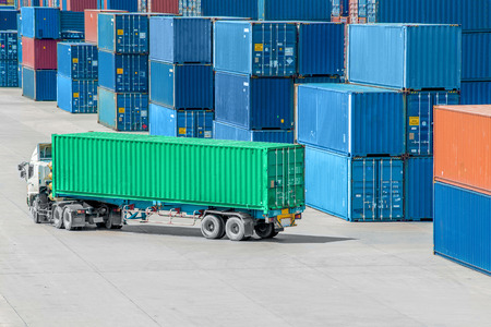 ports: Truck in container depot Stock Photo