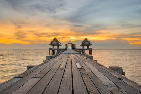 thailand: Landscape of Wooded bridge pier between sunset. Summer travel in Phuket ,Thailand.