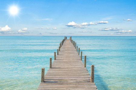 wooden dock: Summer, Travel, Vacation and Holiday concept - Wooden pier in Phuket, Thailand