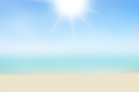 Blurred nature background. Sandy beach backdrop with turquoise water and bright sun light. Summer, Holidays, Vacation, Travel concept.