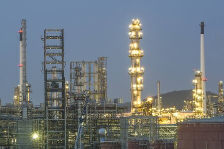 Oil and gas refinery in night, Thailand photo