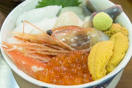 Seafood in Bowl in Hakodate mornng market, Hokkaido, Japan.