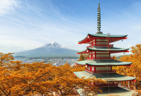 Mt. Fuji with red pagoda at autumn season in Japan photo