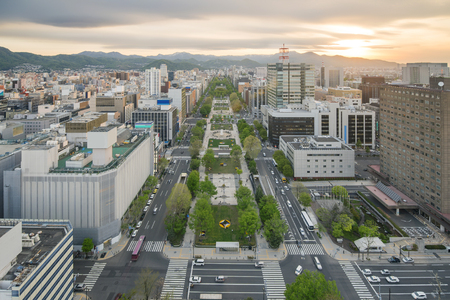 sapporo: Cityscape of Sapporo at odori Park Hokkaido Japan Stock Photo
