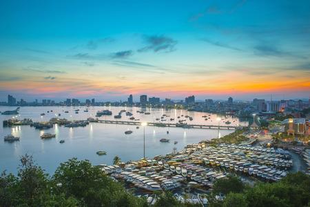 Pattaya City and Sea in Twilight, Thailand