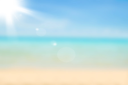 travel concept: Blurred nature background. Sandy beach backdrop with turquoise water and bright sun light. Summer, Holidays, Vacation, Travel concept.