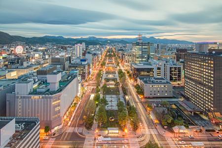 odori: Sapporo, Japan downtown city skyline at Odori Park.