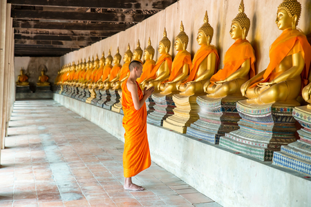 Monks at temple in Ayutthaya, Thailand. Stock Photo