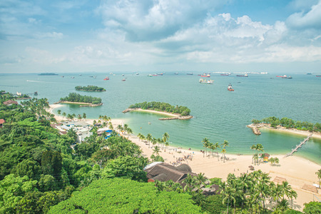 singapore: Aerial view of beach in Sentosa island, Singapore Stock Photo