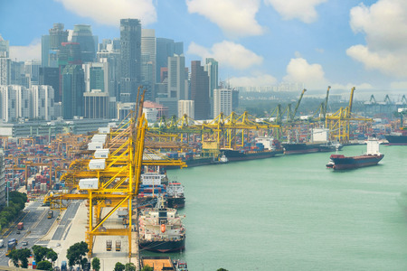 trade: Singapore cargo terminal,one of the busiest ports in the world, Singapore. Editorial