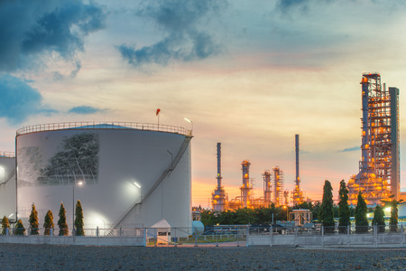 tank: Landscape of oil refinery industry with oil storage tank