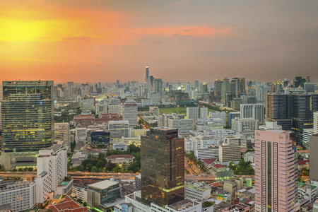 panorama city panorama: Cityscape in middle of Bangkok in night,Thailand Editorial