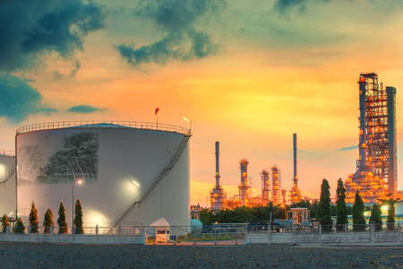 storage tank: Landscape of oil refinery industry with oil storage tank