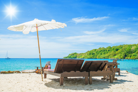 Summer, Travel, Vacation and Holiday concept - Beach chair on the beach in sunny day at Phuket, Thailand 版權商用圖片