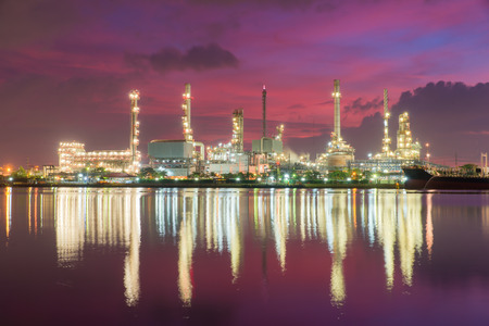 oil industry: Petrochemical plant ( oil refinery ) industry at twilight time Stock Photo