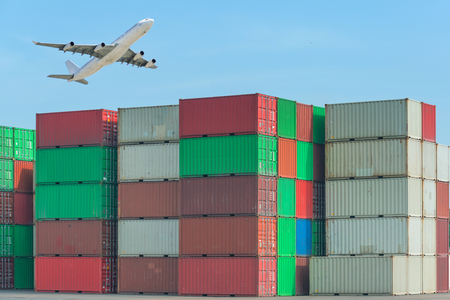logistics: Industrial port with containers and air for logistic concept