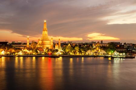 phraya: Night view of Wat Arun temple and Chao Phraya River, Bangkok, Thailand Editorial