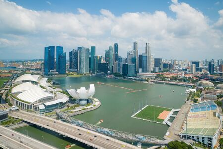 downtown district: Aerial view of Singapore in downtown district