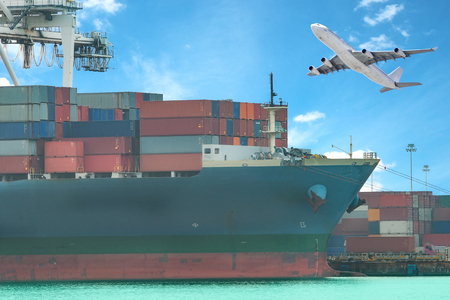 on ship: a flying plane and a freight ship on transport background