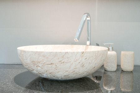 bathroom: Closeup of a wash basin in a modern bathroom Stock Photo