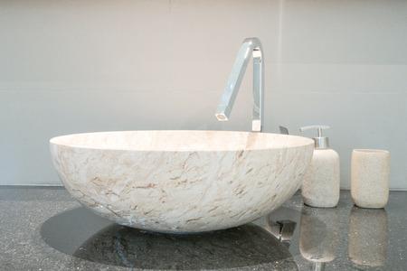 Closeup of a wash basin in a modern bathroom Stock Photo