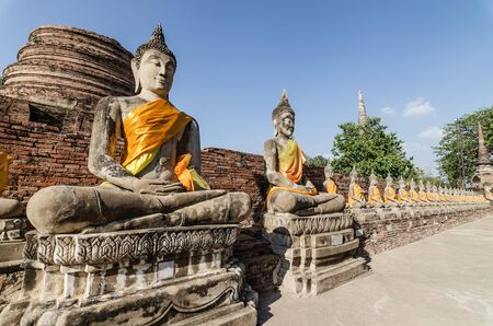 chaimongkol: Aligned buddha statues at Wat Yai Chaimongkol Ayutthaya, Thailand