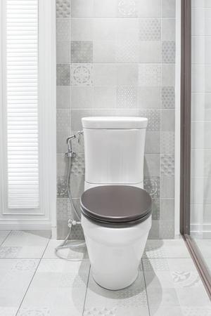 inodoro: Taza del inodoro en un baño moderno.