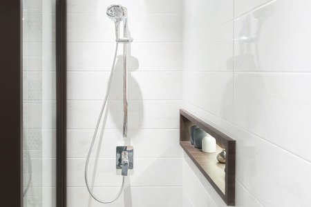 Modern shower head in bathroom Archivio Fotografico