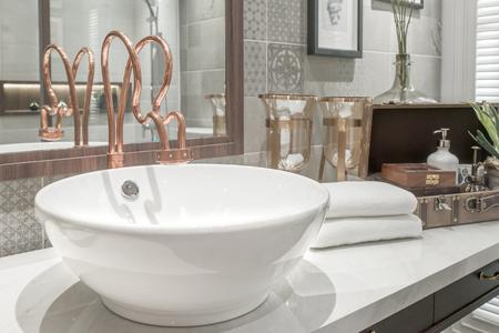 bath room: Washbasin with towel and decoration in bathroom