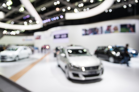 Blur photo of car showroom use for background