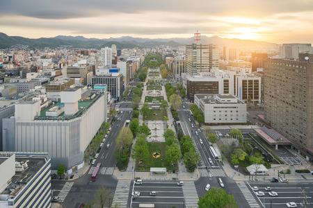 aerial view: Cityscape of Sapporo at odori Park, Hokkaido, Japan