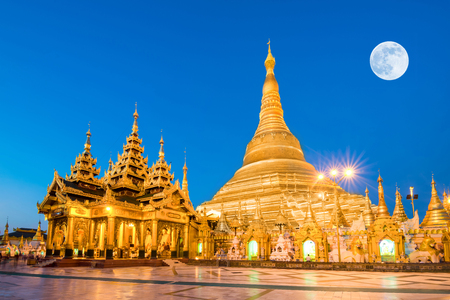 myanmar: Yangon, Myanmar view of Shwedagon Pagoda with super full moon