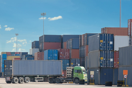 metal box: Truck in container depot Stock Photo