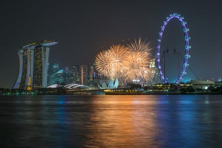 sg: Beautiful fireworks Celebrating Singapores 50th Birthday in Marina Bay at Singapore Editorial