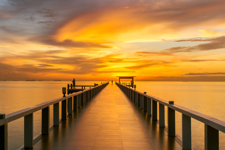 pier: Summer, Travel, Vacation and Holiday concept - Wooden pier between sunset in Phuket, Thailand