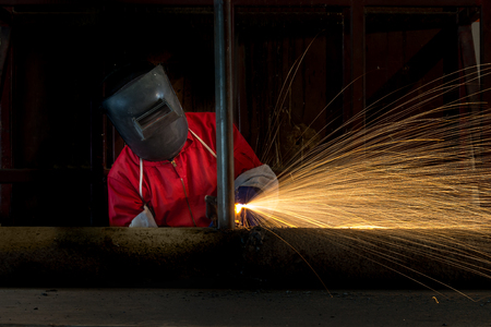 steel: Metal cutting with acetylene torch in factory