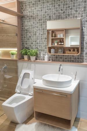 wood furniture: Modern Bathroom interior at home