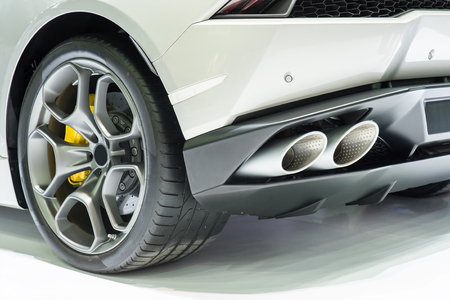car exhaust: New generation of sportive mufflers. Rectangular Car Exhaust Tail