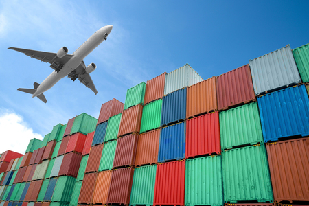 plane: Stack of Cargo Containers at the docks